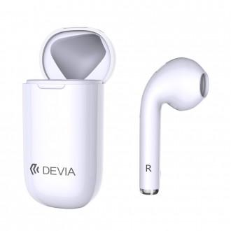 Bluetooth безжична слушалка DEVIA BT5.0 със кутия за зареждане бяла