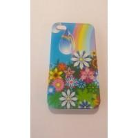 Твърд гръб за iPhone 4/4s с дъга и цветя