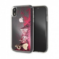 Силиконов калъф Guess Glitter Case GUHCI65GLHFLRA Hearts iPhone XS Max ,червен