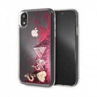 Силиконов калъф Guess Glitter Case GUHCI65GLHFLRA Hearts iPhone XS Max ,червен
