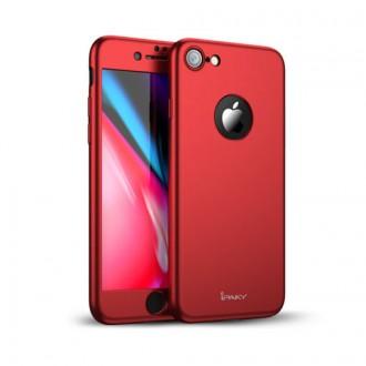 """Калъф 360"""" със стъклен протектор за iPhone 8 Ipaky червен"""