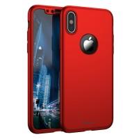 """Калъф 360"""" със стъклен протектор за iPhone X / XS Ipaky червен"""