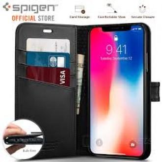 Калъф тип тефтер Spigen Wallet S за iPhone X / iPhone XS, черен