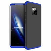 Калъф твърд кейс 360 за Huawei Mate 20 Pro,черен със синя рамка