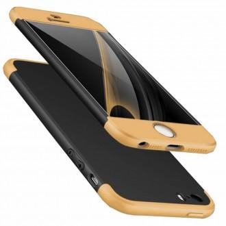 Калъф твърд кейс 360 за Iphone 5 / 5S  / SE , черен със златна рамка