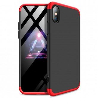 Калъф твърд кейс 360 за iPhone XS / iPhone X черно-червен