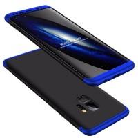 Калъф твърд кейс 360 за Samsung G960 S9 , черен със синя рамка