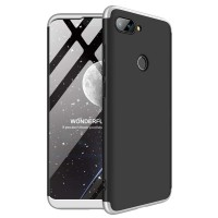 Калъф твърд кейс 360 за Xiaomi Mi 8 Lite черен със сребърна рамка