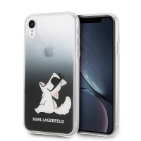 Твърд гръб Karl Lagerfeld KLHCI61CFNRCBK за iPhone Xr черен,Choupette Fun