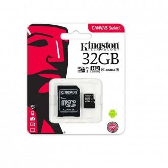 Карта памет Kingston microSDHC 32 GB, UHS-I, class 10 с преходник