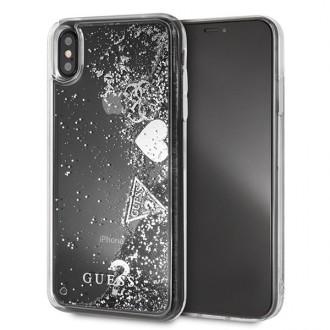 Оригинален кейс GUESS Glitter Hearts GUHCI65GLHFLSI за iPhone XS Max , сив гел