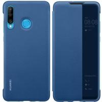 Оригинален страничен калъф тип тефтер Smart View Cover за Huawei P30 Lite, син