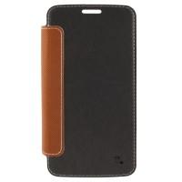 Страничен тефтер с прозрачен заден капак за Samsung Galaxy S6 Edge+ черен