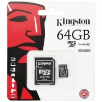 Kingston microSDXC Card 64GB C10 + SD Adap