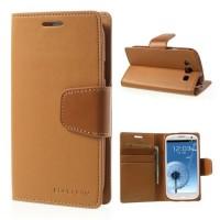 Страничен калъф тефтер за Samsung Galaxy S3 mini кафяв