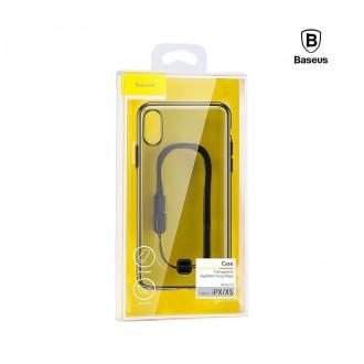 Силиконов калъф кейс Baseus с връзка за ръка за iPhone X / iPhone XS, прозрачен-сив