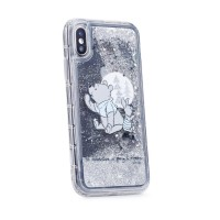 Силиконов калъф кейс Disney за iPhone XS / iPhone X, Winnie the Pooh and Friends, течен гел сив
