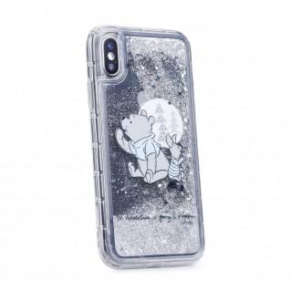 Силиконов калъф кейс Disney за iPhone XS / iPhone X, Winnie the Pooh and Friends, течен гел сив