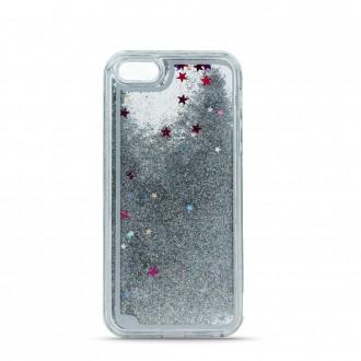 Силиконов калъф кейс Glitter за Samsung A40 с течен гел, сребърен