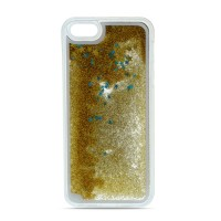 Силиконов калъф кейс Glitter за Samsung A40 с течен гел, златен
