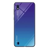 Силиконов калъф кейс Gradient Glass Durable Cover стъклен гръб  за Samsung Galaxy A10, blue-purple