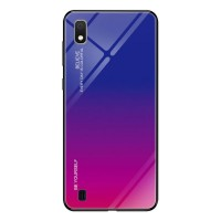 Силиконов калъф кейс Gradient Glass Durable Cover стъклен гръб за Samsung Galaxy A10, purple-pink