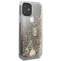 Силиконов калъф кейс Guess GUHCN61GLHFLGO iPhone 11 gold Glitter Hearts