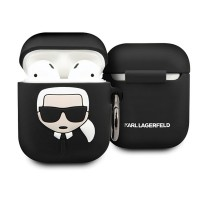 Силиконов калъф кейс KARL LAGERFELD KLACCSILKHBK за слушалки AirPods, Черен