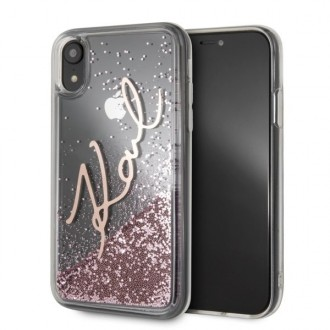 Силиконов калъф кейс Karl Lagerfeld KLHCI61SGPI за iPhone XR ,Liquid Glitter