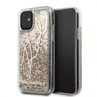 Силиконов калъф кейс Karl Lagerfeld KLHCN58TRKSGO iPhone 11 gold hard case Glitter Signature