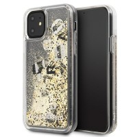Силиконов калъф кейс Karl Lagerfeld KLHCN61ROGO iPhone 11 black & gold Glitter