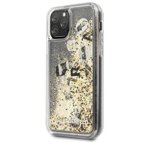 Силиконов калъф кейс Karl Lagerfeld KLHCN58ROGO iPhone 11 Pro black & gold hard case Glitter
