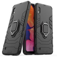 Силиконов калъф кейс Ring Armor Kickstand magnetic car holder Tough Rugged Cover за Samsung Galaxy A10, черен