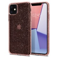 Силиконов калъф кейс Spigen Liquid Crystal Iphone 11 Glitter Rose, розов