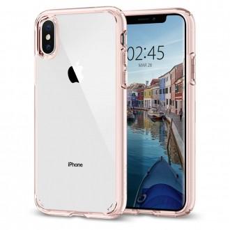 Силиконов калъф кейс Spigen Ultra Hybrid за iPhone XS / iPhone X ,розов
