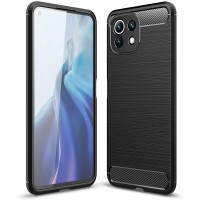 Силиконов калъф кейс TECH-PROTECT Carbon за Xiaomi MI 11 Lite / MI 11 Lite 5G, Черен