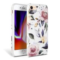 Силиконов калъф кейс TECH-PROTECT Floral за iPhone SE 2020 / iPhone 7 / iPhone 8, бял