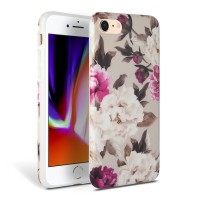 Силиконов калъф кейс TECH-PROTECT Floral за iPhone SE 2020 / iPhone 7 / iPhone 8, кремав