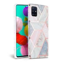 Силиконов калъф кейс TECH-PROTECT icon marble за Samsung A71, розов