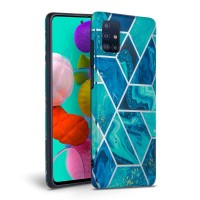 Силиконов калъф кейс TECH-PROTECT icon marble за Samsung A71, син