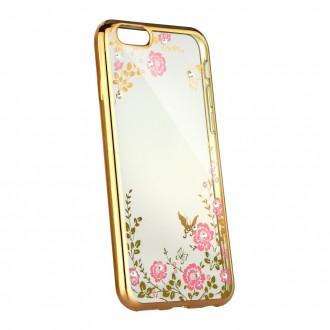 Силиконов калъф кейс за Huawei Honor 9 Lite с цветя златен