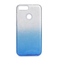 Силиконов калъф кейс за Huawei P Smart с брокат сиво със синьо