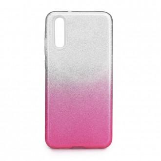 Силиконов калъф кейс за Huawei P20 брокат сиво с розово