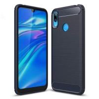 Силиконов калъф кейс за Huawei Y7 2019 / Y7 Prime 2019 Carbon Flexible, тъмно син