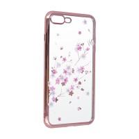 Силиконов калъф кейс за Samsung A10 прозрачен с розова лайсна и цветя
