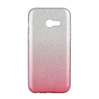 Силиконов калъф кейс за Samsung A600 A6 (2018) брокат сиво с розово