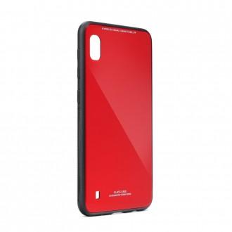 Силиконов калъф кейс за Samsung Galaxy A10 със стъклен гръб червен