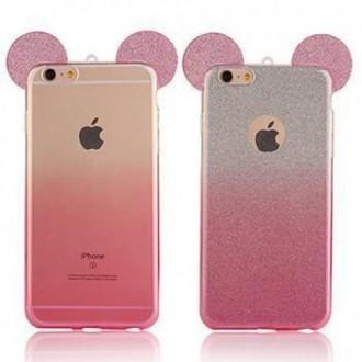 Силиконов калъф за Iphone 6/6s розови/лилави уши