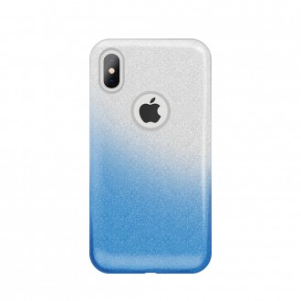 Силиконов калъв кейс за Samsung A40 с брокат сиво/синьо