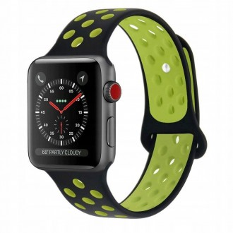 Силиконова каишка TECH-PROTECT за Apple Watch 1/2/3/4/5 (42/44MM) , BLACK/LIME